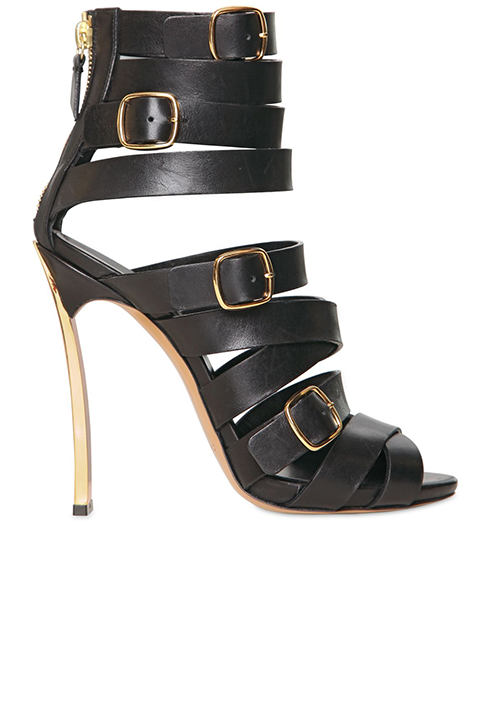 Casadei Black Belted Calf-skin Blade One Sandals